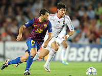 FUSSBALL   CHAMPIONS LEAGUE   SAISON 2011/2012   GRUPPE  H 13.09.2011 FC Barcelona - AC Mailand  Javier Mascherano (li, Barca) gegen Pato (re, AC Mailand)