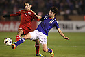 (L to R) .Solaiman Solaiman (SYR), .Keigo Higashi (JPN), .NOVEMBER 27, 2011 - Football / Soccer : .Men's Asian Football Qualifiers Final Round .for London Olympic Games .between U-22 Japan 2-1 U-22 Syria .at National Stadium, Tokyo, Japan. .(Photo by YUTAKA/AFLO SPORT) [1040]