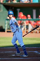 Jacob Amaya (13) of the Ogden Raptors bats against the Orem Owlz at Lindquist Field on June 19, 2018 in Ogden, Utah. The Raptors defeated the Owlz 7-2. (Stephen Smith/Four Seam Images)