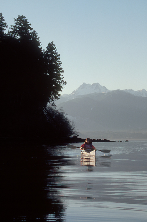 Hood Canal, woman kayaking, Olympic Peninsula, Washington State, Pacific Northwest, U.S.A.,