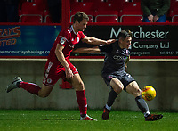 Lincoln City's Adam Crookes under pressure from Accrington Stanley's Nick Anderton<br /> <br /> Photographer Andrew Vaughan/CameraSport<br /> <br /> The EFL Checkatrade Trophy Second Round - Accrington Stanley v Lincoln City - Crown Ground - Accrington<br />  <br /> World Copyright © 2018 CameraSport. All rights reserved. 43 Linden Ave. Countesthorpe. Leicester. England. LE8 5PG - Tel: +44 (0) 116 277 4147 - admin@camerasport.com - www.camerasport.com