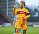 MOTHERWELL'S KEITH LASLEY CELEBRATES AFTER HE SCORES MOTHERWELL'S THIRD GOAL