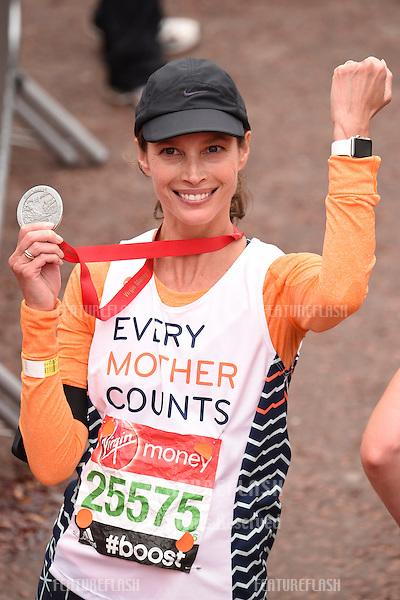 Christy Turlington-Burns finishes the 2015 London Marathon, The Mall, London 26/04/2015 Picture by: Steve Vas / Featureflash
