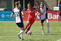 Portland, OR - Saturday September 02, 2017: Nadia Nadim, Kassey Kallman during a regular season National Women's Soccer League (NWSL) match between the Portland Thorns FC and the Washington Spirit at Providence Park.