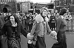 Mairead Corrigan Maguire   Mrs Jane Ewart Biggs, Betty Williams, Peace Movement. Peace People. Peace March outside Westminster Abbey London 1976.<br />