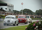 10th September 2017, Goodwood Estate, Chichester, England; Goodwood Revival Race Meeting; An Austin A40 driven by Mike Jordan leads Steve Soper in his Alfa Romeo Giulietta T1 and Jochen Mass in his Jaguar mk1 past the Goodwood straight