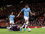 Riyad Marhez of Manchester City strands David De Gea of Manchester United as he scores their second goal during the Carabao Cup match at Old Trafford, Manchester. Picture date: 7th January 2020. Picture credit should read: Darren Staples/Sportimage