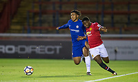 Reece JAMES of Chelsea battles Tosin Kehinde of Manchester United during the U23 Premier League 2 match between Chelsea and Manchester United at the EBB Stadium, Aldershot, England on 18 September 2017. Photo by Andy Rowland.
