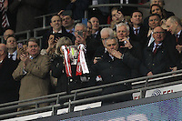 Manchester United Manager Jose Mourinho with the EFL Cup after the EFL Cup Final match <br /> Londra Wembley Stadium Southampton vs Manchester United - EFL League Cup Finale - 26/02/2017 <br /> Foto Phcimages/Panoramic/Insidefoto