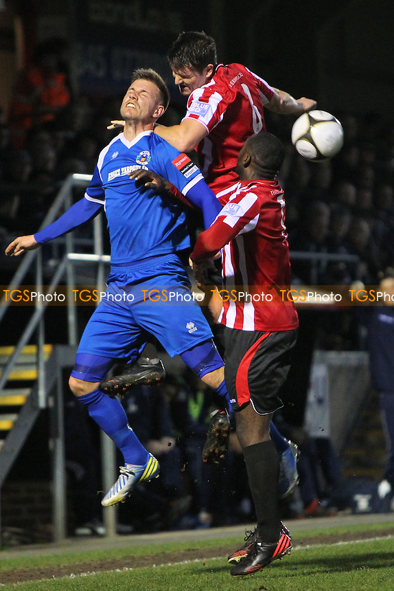 Frankie Curley in aerial action for Hornchurch - AFC Hornchurch vs Grays Athletic - Essex FA Senior Cup Final at Dagenham & Redbridge FC - 15/04/13 - MANDATORY CREDIT: Gavin Ellis/TGSPHOTO - Self billing applies where appropriate - 0845 094 6026 - contact@tgsphoto.co.uk - NO UNPAID USE.