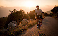 up the Mare de D&eacute;u del Mont climb at dusk<br /> <br /> Girona / Spain
