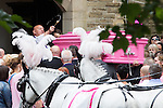 © Joel Goodman - 07973 332324 . 09/08/2013 . Salford , UK . The pink coffin is carried in to the church . The funeral of Linzi Ashton at St Paul's C of E Church in Salford , today (9th August 2013) . Linzi Ashton (25) was found murdered in her home on Westbourne Road in Salford on 29th June . Michael Cope is standing trial, accused of murdering, raping and assaulting her . Photo credit : Joel Goodman