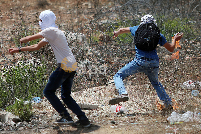 A Palestinian protester prepares to throw a molotov cocktail towards Israeli troops during clashes following a protest in solidarity with Palestinian prisoners held in Israeli jails, near Israel's Ofer Prison near the West Bank city of Ramallah, August 18, 2016. Photo by Shadi Hatem