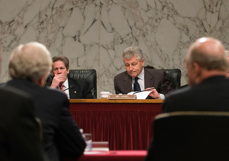 Norm Coleman, R-MN, and Chuck Hagel, R-NE, listen to Joseph Lieberman, R-CT, during the Senate Foreign Relations Committee Full committee hearing on the nomination of John Negroponte to be deputy secretary of State.