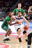 Real Madrid's Sergio Llull and Unicaja Malaga's Kyle Fogg and Alen Omic during semi finals of playoff Liga Endesa match between Real Madrid and Unicaja Malaga at Wizink Center in Madrid, June 02, 2017. Spain.<br /> (ALTERPHOTOS/BorjaB.Hojas) /NortePhoto.com