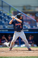 Portland Sea Dogs left fielder Tony Renda (11) at bat during the second game of a doubleheader against the Reading Fightin Phils on May 15, 2018 at FirstEnergy Stadium in Reading, Pennsylvania.  Reading defeated Portland 9-8.  (Mike Janes/Four Seam Images)