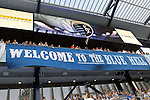 """09 June 2011: A banner reading """"Welcome To The Blue Hell"""" hangs above the North End Member's section. Sporting Kansas City played the Chicago Fire to a 0-0 tie in the inaugural game at LIVESTRONG Sporting Park in Kansas City, Kansas in a 2011 regular season Major League Soccer game."""