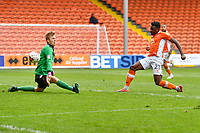 Accrington Stanley's Marek Rodak saves a shot from Blackpool's Bright Osayi-Samuel<br /> <br /> Photographer Terry Donnelly/CameraSport<br /> <br /> The EFL Sky Bet League Two - Blackpool v Accrington Stanley - Friday 14th April 2017 - Bloomfield Road - Blackpool<br /> <br /> World Copyright &copy; 2017 CameraSport. All rights reserved. 43 Linden Ave. Countesthorpe. Leicester. England. LE8 5PG - Tel: +44 (0) 116 277 4147 - admin@camerasport.com - www.camerasport.com
