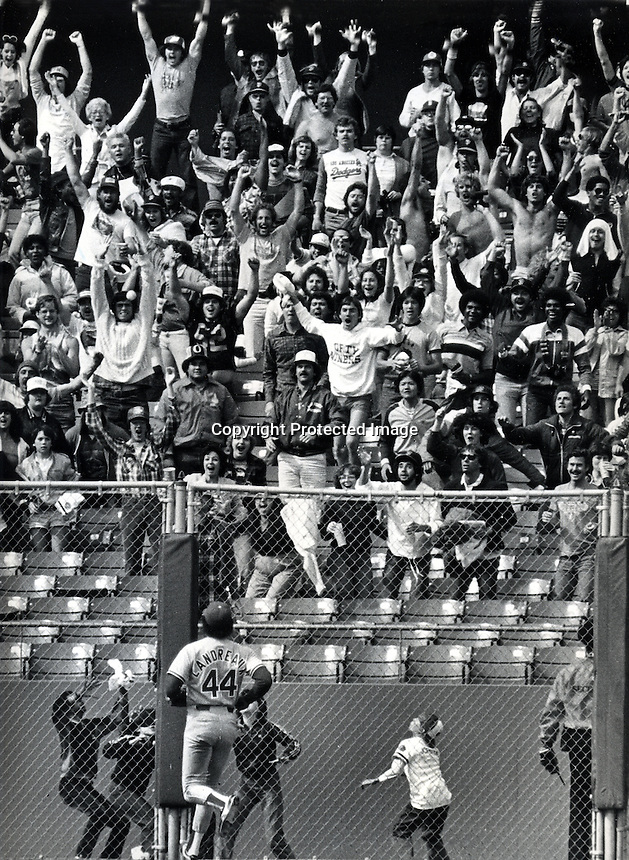 San Francisco Giants fans in left-center field go wild after Jeff Leonard's grand slam Home Run in the 8th inning agazin st the hated Los Angeles Dodger's. <br />(photo April 25,1982 by Ron Riesterer)
