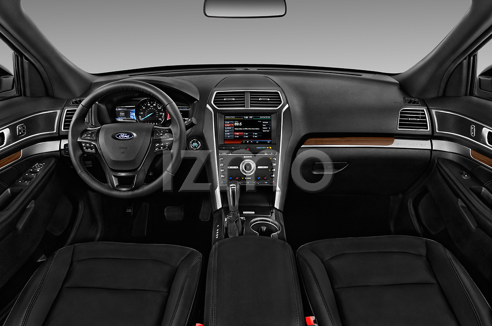 Stock photo of straight dashboard view of 2017 Ford Explorer Limited 5 Door SUV Dashboard