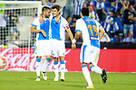 CD Leganes' Miguel Angel Guerrero, Martin Mantovani and Ezequiel Matias Munoz celebrate goal during La Liga match. September 8,2017. (ALTERPHOTOS/Acero)