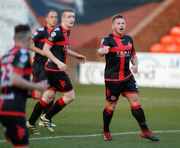 Dave Cushley celebrates the first goal for Crusaders