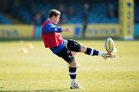 Chris Cook of Bath Rugby box-kicks the ball during the pre-match warm-up. Aviva Premiership match, between Bath Rugby and Sale Sharks on February 24, 2018 at the Recreation Ground in Bath, England. Photo by: Patrick Khachfe / Onside Images