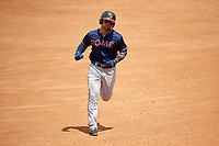 Rome Braves left fielder Jefrey Ramos (22) runs the bases after hitting a fourth inning home run during a game against the Lexington Legends on May 23, 2018 at Whitaker Bank Ballpark in Lexington, Kentucky.  Rome defeated Lexington 4-1.  (Mike Janes/Four Seam Images)