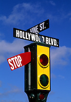 Famous Los Angeles Hoolywood landmark in California USA Corner of Hollywood and Vin