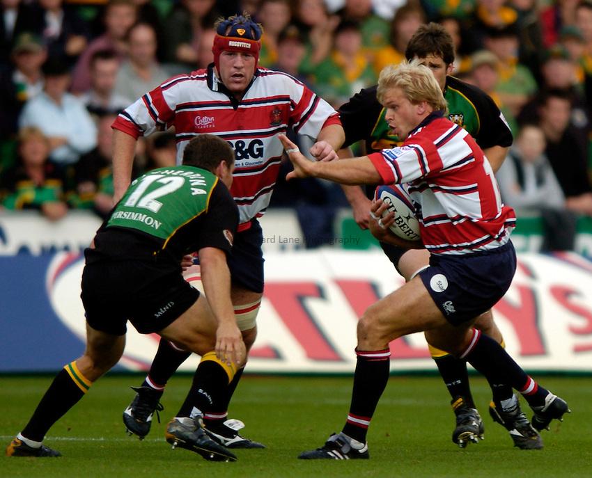 Photo. Richard Lane..Northampton Saints v Gloucester. Zurich Premiership. 18/09/2004..Adam Balding attacks..