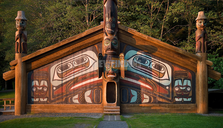 Clan House and totem poles at Totem Bight State Historical Park, Ketchikan, Alaska.