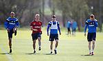 27.04.2018 Rangers training: Bruno Alves, Ryan Jack and David Bates with physio Stevie Walker