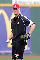 Nashville Sounds pitcher Jim Henderson #35 during a pre-game workout before a game against the Omaha Storm Chasers at Greer Stadium on April 26, 2011 in Nashville, Tennessee.  The game was cancelled due to rain.  Photo By Mike Janes/Four Seam Images