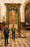 Tourists inside Chapel of Saint Teresa, cathedral church, Cordoba, Spain