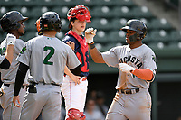 Center fielder Heliot Ramos (14) of the Augusta GreenJackets is congratulated at the plate after hitting a home run in a game against the Greenville Drive on Wednesday, April 25, 2018, at Fluor Field at the West End in Greenville, South Carolina. Augusta won, 9-2. (Tom Priddy/Four Seam Images)