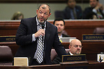Nevada Assembly Majority Leader Paul Anderson, R- Las Vegas, speaks on the Assembly floor at the Legislative Building in Carson City, Nev., on Monday, March 16, 2015. <br /> Photo by Cathleen Allison