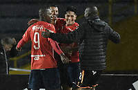 BOGOTA - COLOMBIA, 04-08-2018: German Cano (tercero desde Izq) jugador de Deportivo Independiente Medellín celebra después de anotar un gol a Millonarios partido por la fecha 3 de la Liga Águila II 2018 jugado en el estadio Nemesio Camacho El Campin de la ciudad de Bogotá. / German Cano (Third from L) player of Deportivo Independiente Medellin celebrates after scoring a goal to Millonarios during the match for the date 3 of the Liga Aguila II 2018 played at the Nemesio Camacho El Campin Stadium in Bogota city. Photo: VizzorImage / Gabriel Aponte / Staff.