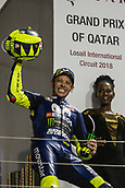 18th March 2018, Losail International Circuit, Lusail, Qatar; Qatar Motorcycle Grand Prix, Sunday race day; Valentino Rossi (Movistar Yamaha) celebrates his 3rd placed finish