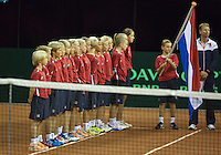 September 12, 2014, Netherlands, Amsterdam, Ziggo Dome, Davis Cup Netherlands-Croatia, Presentation, ball kids<br /> <br /> Photo: Tennisimages/Henk Koster