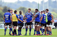 The Bath United team huddle together during a break in play. Premiership Rugby Shield match, between Bristol Bears A and Bath United on August 31, 2018 at the Cribbs Causeway Ground in Bristol, England. Photo by: Patrick Khachfe / Onside Images