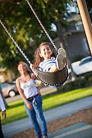 Hispanic Mom And Daughter At George Washington Park, Anaheim