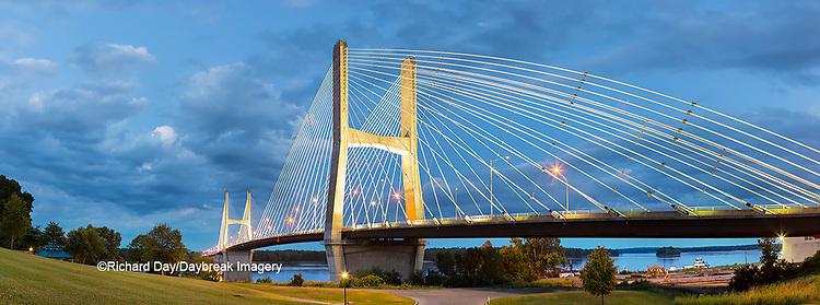 65095-02713 Bill Emerson Memorial Bridge at dusk-night over Mississippi River Cape Girardeau  MO