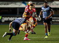 Dragons' Hallam Amos hands off Cardiff Blues' Lloyd Williams<br /> <br /> Photographer Simon King/CameraSport<br /> <br /> Guinness Pro14 Round 6 - Cardiff Blues v Dragons - Friday 6th October 2017 - Cardiff Arms Park - Cardiff<br /> <br /> World Copyright &copy; 2017 CameraSport. All rights reserved. 43 Linden Ave. Countesthorpe. Leicester. England. LE8 5PG - Tel: +44 (0) 116 277 4147 - admin@camerasport.com - www.camerasport.co