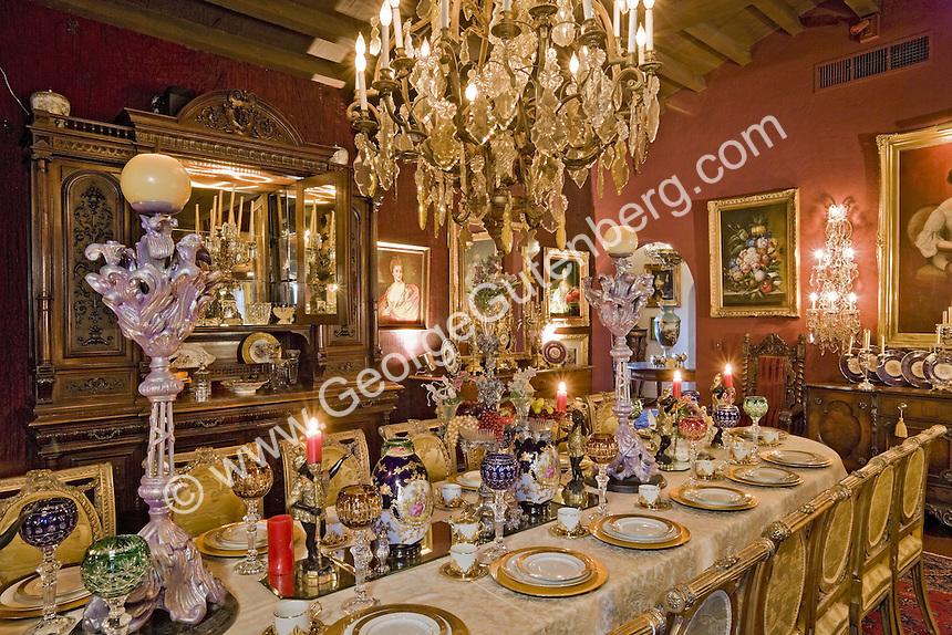 Stock photo of Dining room in Liberace's Palm Springs Mansion