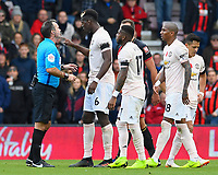 Paul Pogba of Manchester United makes a point to Referee Paul Tierney during AFC Bournemouth vs Manchester United, Premier League Football at the Vitality Stadium on 3rd November 2018