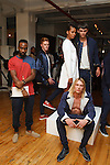 Fashion designer Jerrell West (far left) poses with models during his Murray West Fall Winter 2016 capsule collection presentation, in Contra Studios at 122 West 26 Street in New York City, on May 19, 2016.