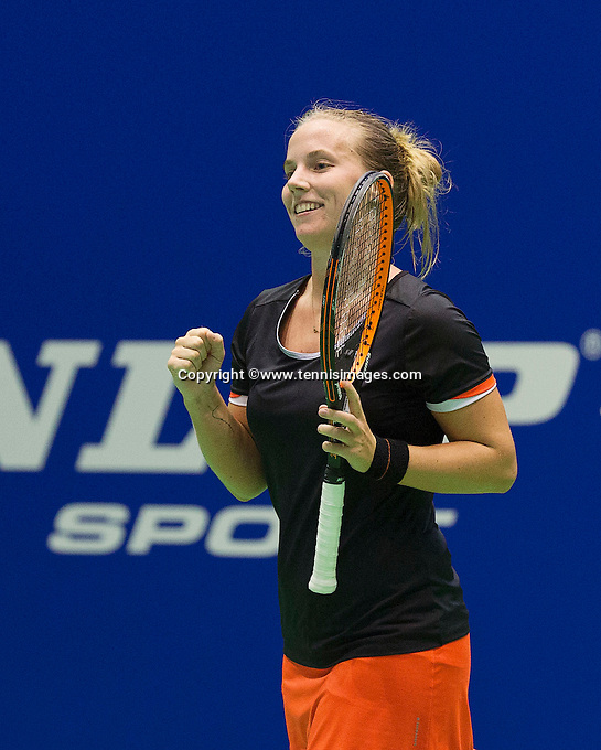 Rotterdam, Netherlands, December 20, 2015,  Topsport Centrum, Lotto NK Tennis, Final womans single Richel Hogenkamp (NED) in jubilation after delegaten Bertens<br /> Photo: Tennisimages/Henk Koster