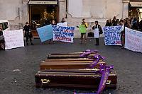 Roma, 23  Febbraio 2015 <br /> Manifestazione di lavoratori della sanit&agrave;, a rischio licenziamento dell' Aurelia Hospital, della European Hospital e della casa di Cura Citt&agrave; di Roma, dopo i 160 licenziamenti collettivi avviati dalla propriet&agrave;  e altri 2000 lavoratori rischiano il licenziamento perch&egrave; la Regione Lazio ha tagliato i fondi per le prestazioni salvavita. I lavoratori fanno il funerale alla sanit&agrave; davanti a Montecitorio<br /> Rome, February 23, 2015<br /> Demonstration by health workers, at risk of dismissal of the Aurelia Hospital, the European Hospital and Home Care City of Rome, after 160 redundancies initiated by property,another 2000 workers risk dismissal because the Lazio Region has cut funds for life-saving performance. The workers make the funeral to the Health in front of Deputies