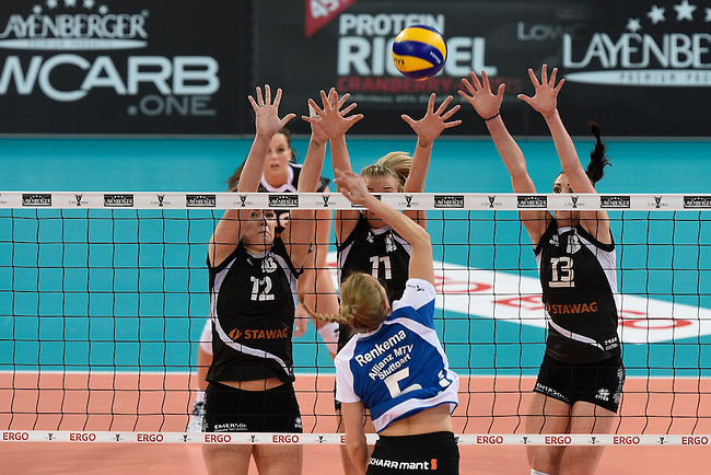 Halle/Westfalen, Germany, March 01: during the Volleyball DVV-Pokalfinale (Damen) between Ladies in Black Aachen and Allianz MTV Stuttgart on March 1, 2015 at the Gerry Weber Stadion in Halle/Westfalen, Germany. Final score 2-3 (25-17, 25-20, 19-25, 19-25, 13-15). (Photo by Dirk Markgraf / www.265-images.com) *** Local caption *** Marija Pucarevic #12 of Ladies in Black Aachen, Simona Kosova #11 of Ladies in Black Aachen, Karolina Bednarova #13 of Ladies in Black Aachen, Kim Renkema #5 of Allianz MTV Stuttgart