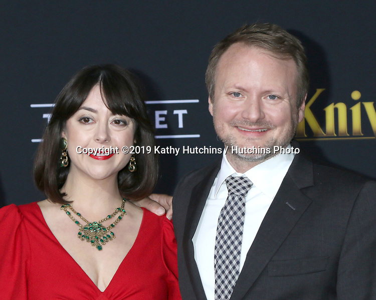 """LOS ANGELES - NOV 14:  Karina Longworth, Rian Johnson at the """"Knives Out"""" Premiere at Village Theater on November 14, 2019 in Westwood, CA"""